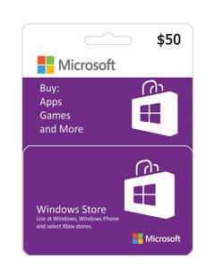 گیفت کارت مایکروسافت و ایکس باکس 50 دلاری